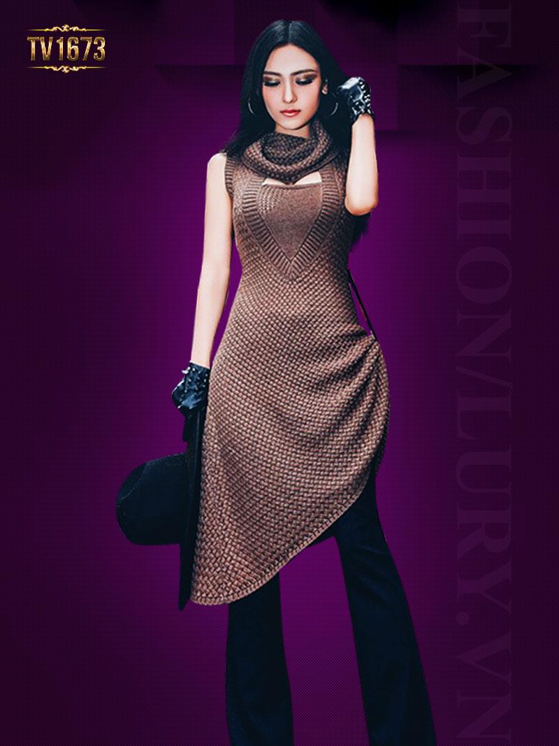 Đầm len sát nách TV1673 mới 2017 cổ đổ thời trang