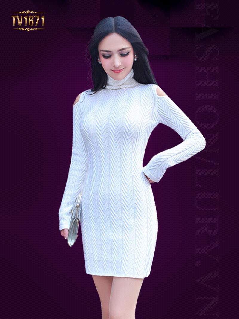 Đầm len xương cá TV1671 dáng body cổ cao mới nhất 2017