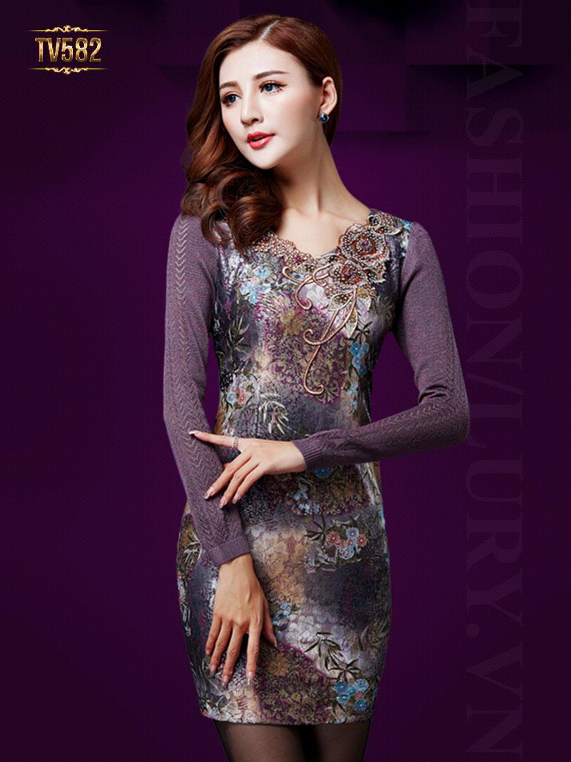 Đầm liền body họa tiết cổ hoa đẹp TV582