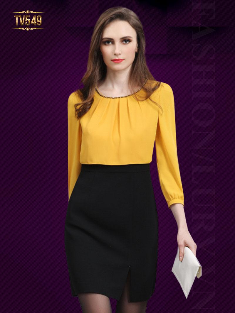 Đầm liền hai màu chân váy xẻ vạt đẹp TV549