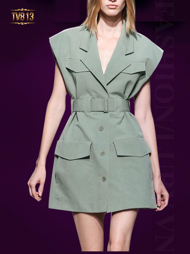 Đầm liền Hàn Quốc cao cấp 2 túi cổ vest phối khuy trước TV813