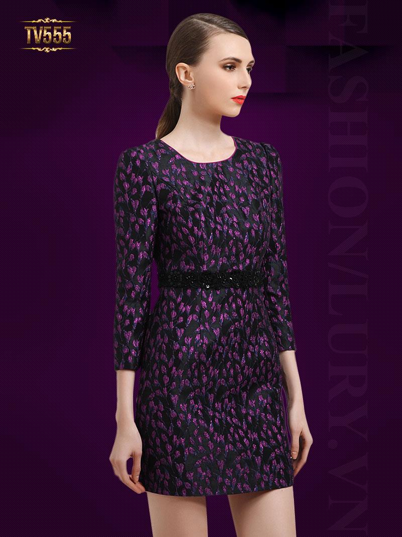 Đầm liền hoa tím dài tay kèm dây đai đẹp TV555