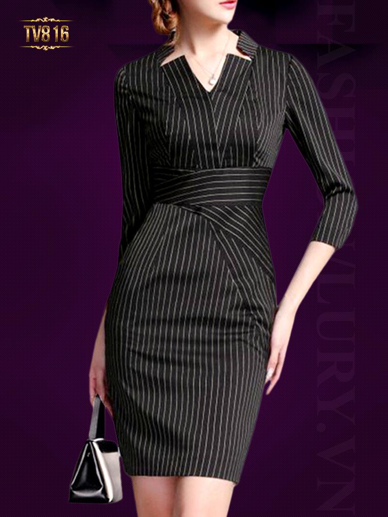 Đầm liền kẻ thiết kế thời trang cao cấp TV816