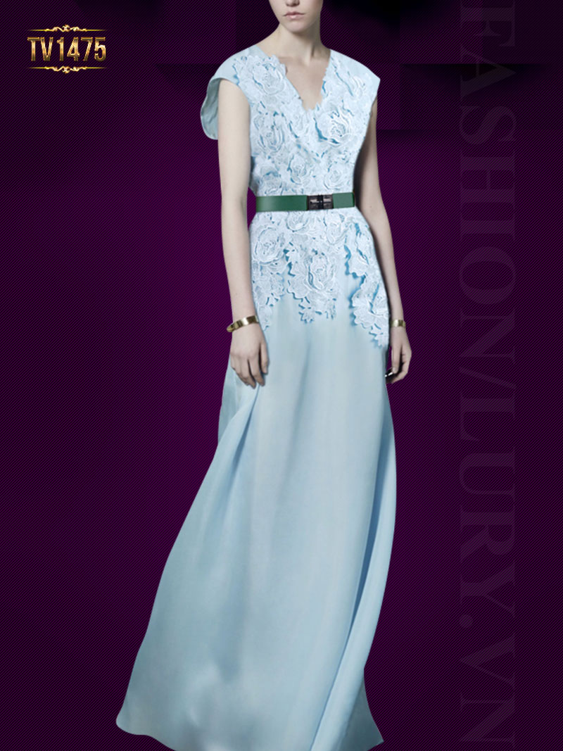 Đầm lụa đẹp cao cấp phối ren hoa sang trọng TV1475