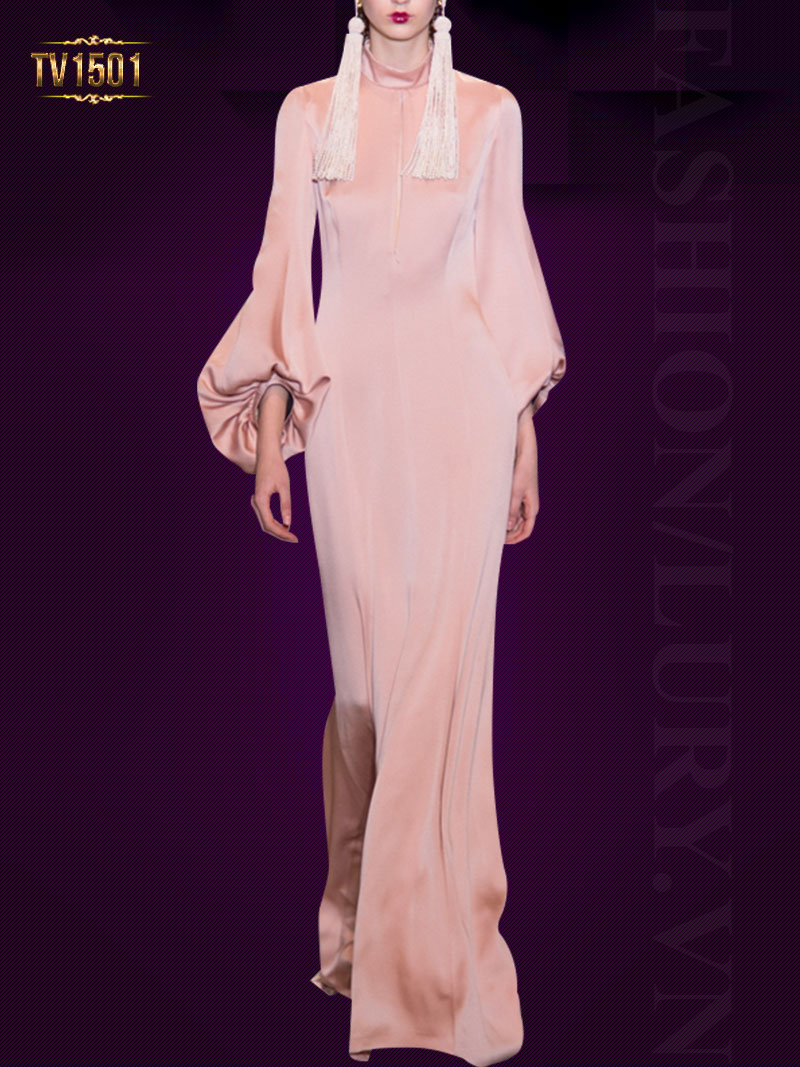 Đầm lụa hồng cao cấp cổ trụ dáng dài sang trọng TV1501