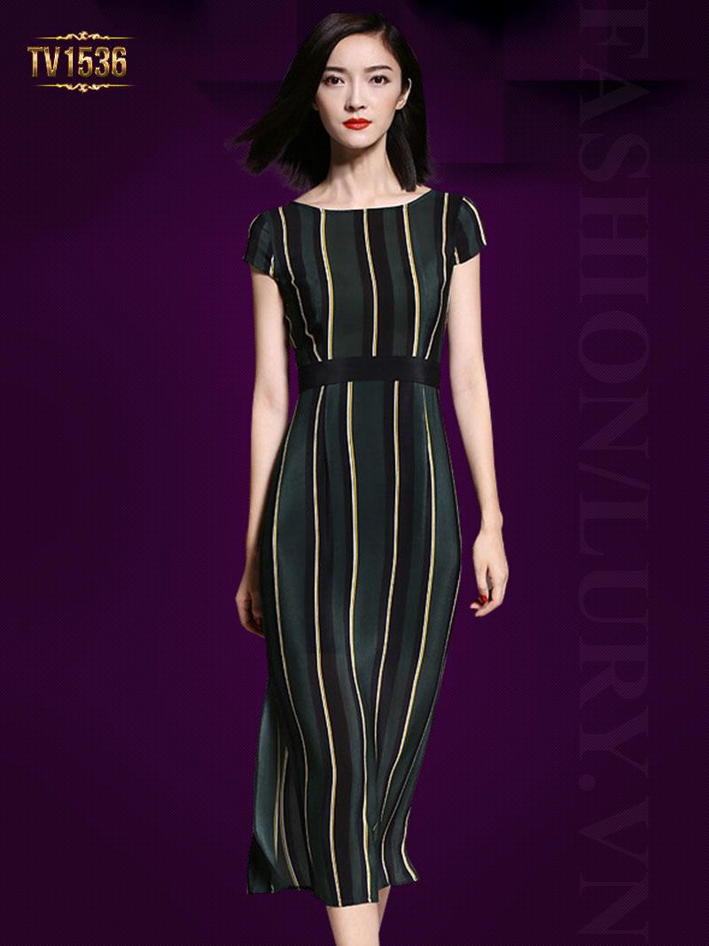 Đầm lụa suông họa tiết kẻ phối màu cao cấp TV1536