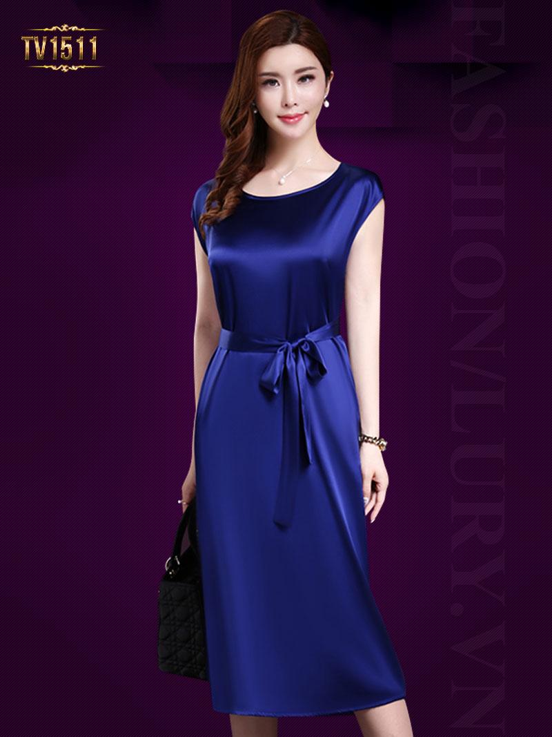 Đầm lụa xanh cổ tròn thắt đai nơ sang trọng TV1511