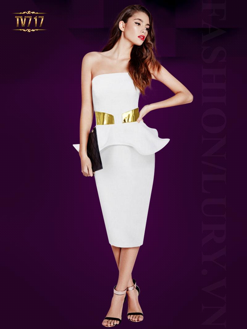 Đầm peplum cúp ngực màu trắng quyến rũ TV717
