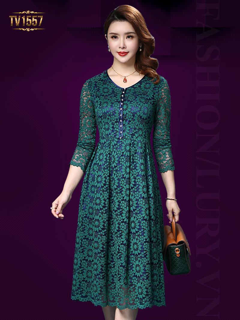 Đầm ren hoa xanh 2 lớp khuy trước TV1557