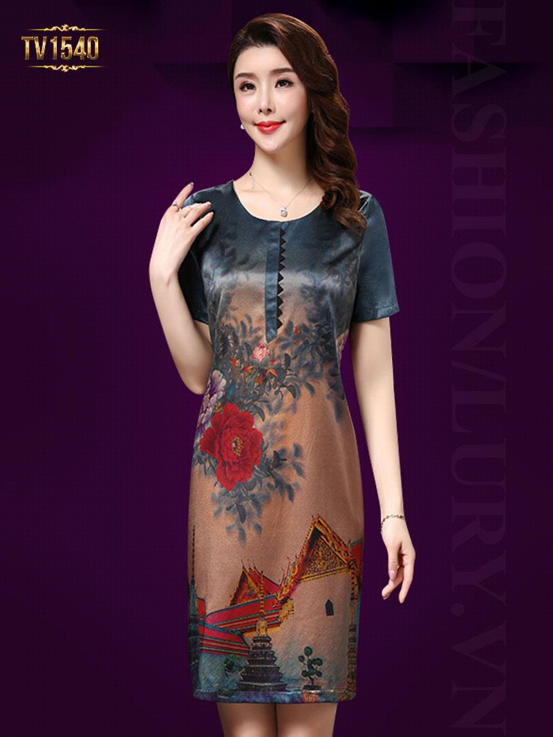 Đầm suông họa tiết hoa đỏ xanh cao cấp TV1540