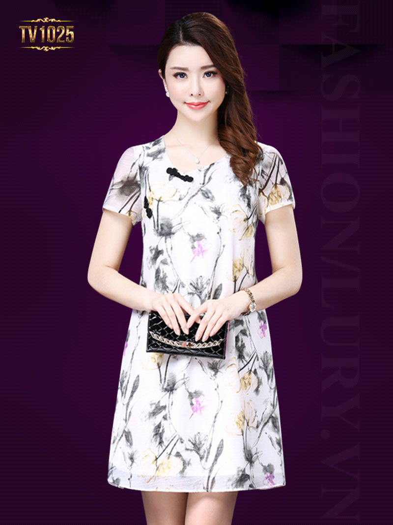 Đầm suông họa tiết khuy lệch thời trang TV1025