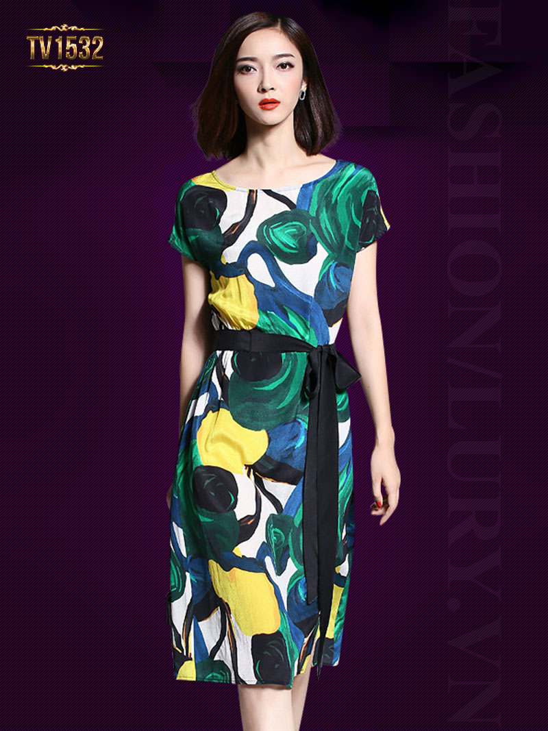 Đầm suông họa tiết nơ eo lệch thời trang TV1532