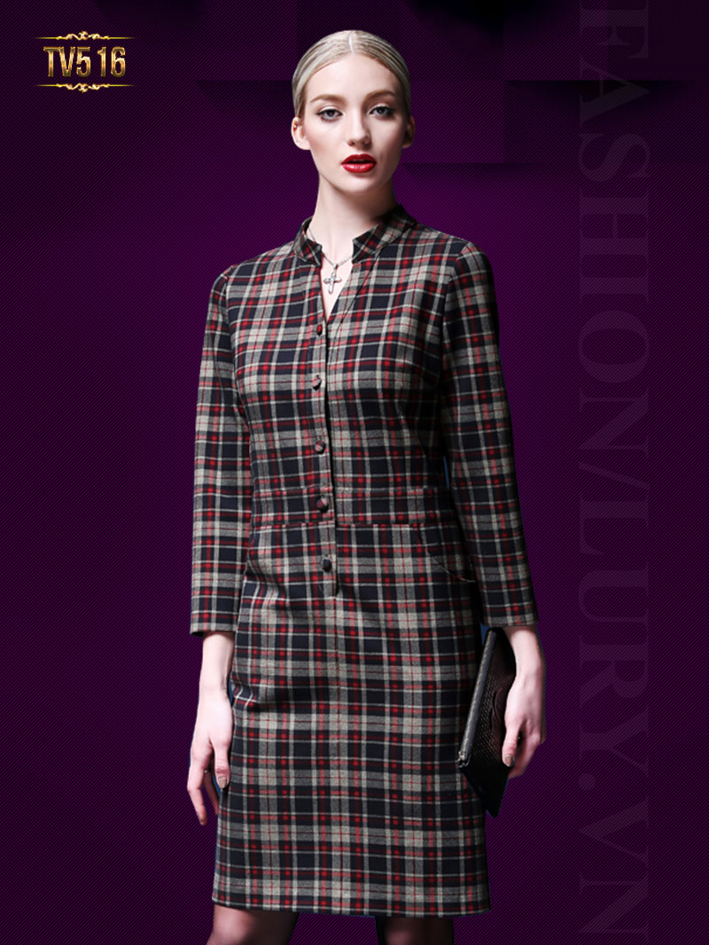 Đầm suông kẻ caro dài tay hai túi thời trang TV516