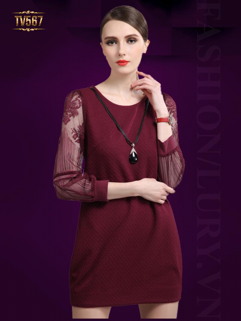 Đầm suông trơn tay voan cách điệu TV567 (Màu đỏ)