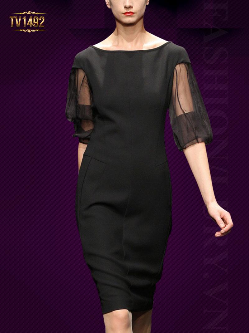 Đầm suông trơn tay voan lưới màu đen cao cấp TV1492