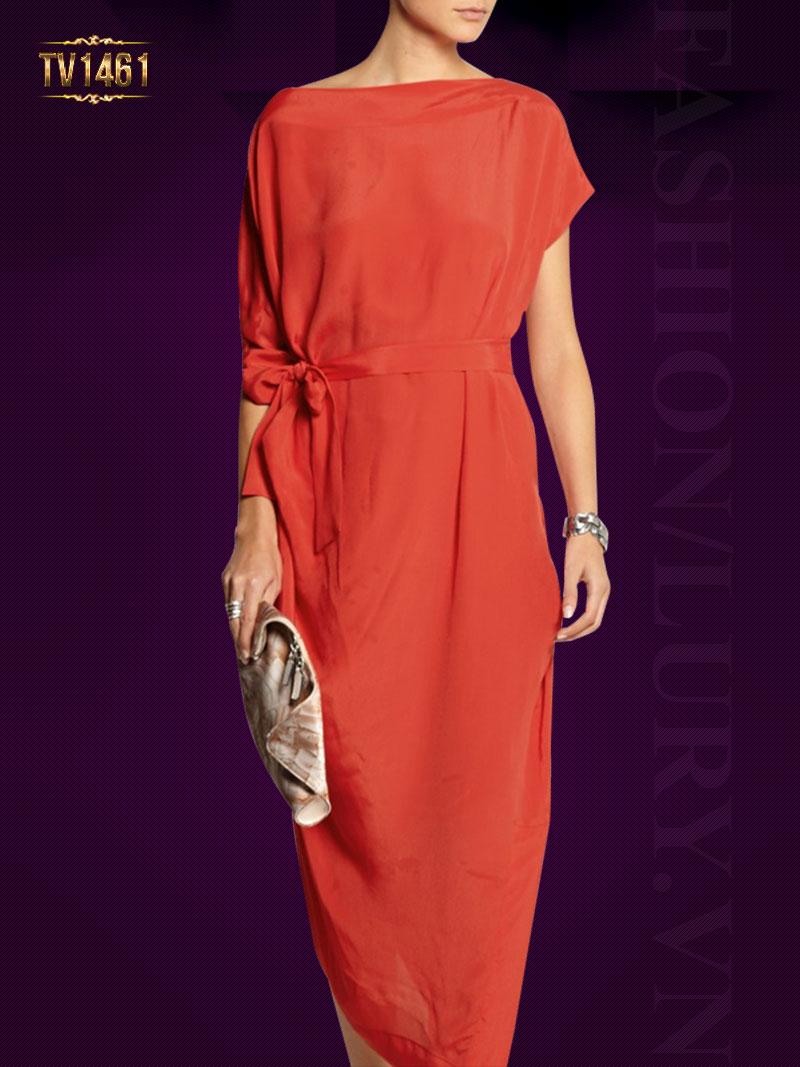 Đầm suông trơn thiết kế đai nơ lệch màu đỏ cam thời trang TV1461