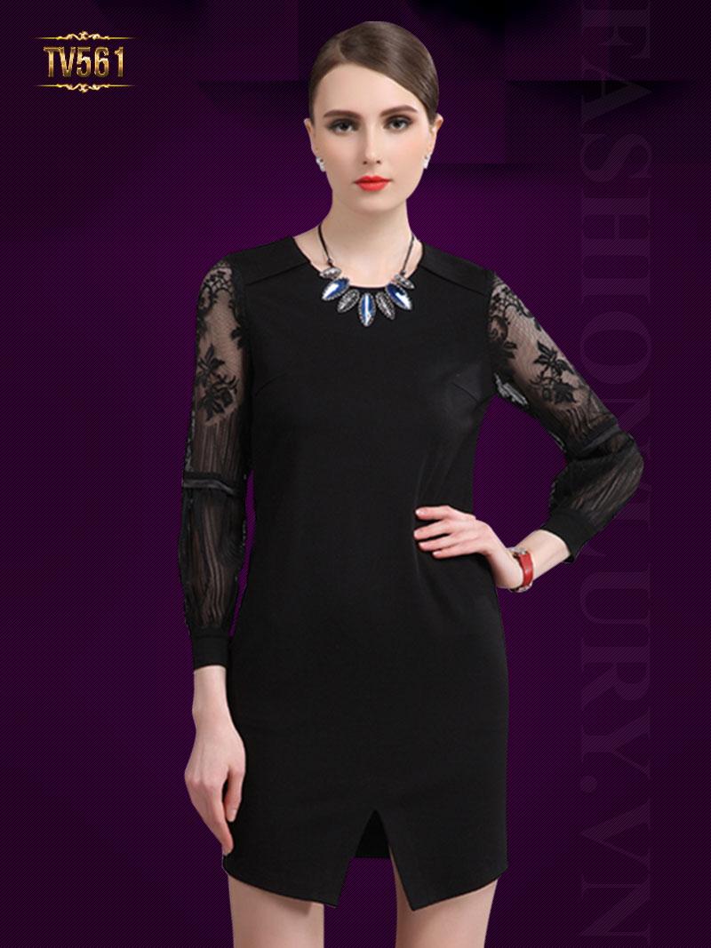 Đầm tay voan cách điệu kèm dây đai đẹp TV561 (Màu đen)