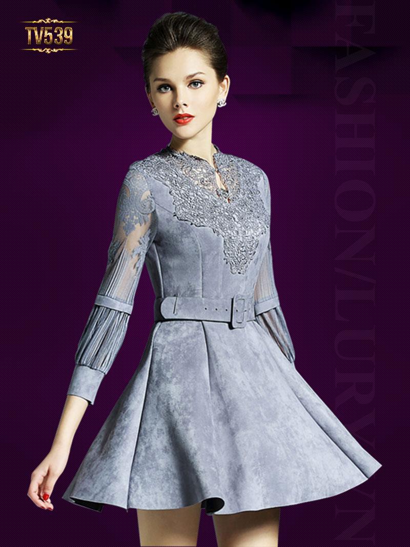 Đầm tay voan xòe cổ ren họa tiết cao cấp TV539