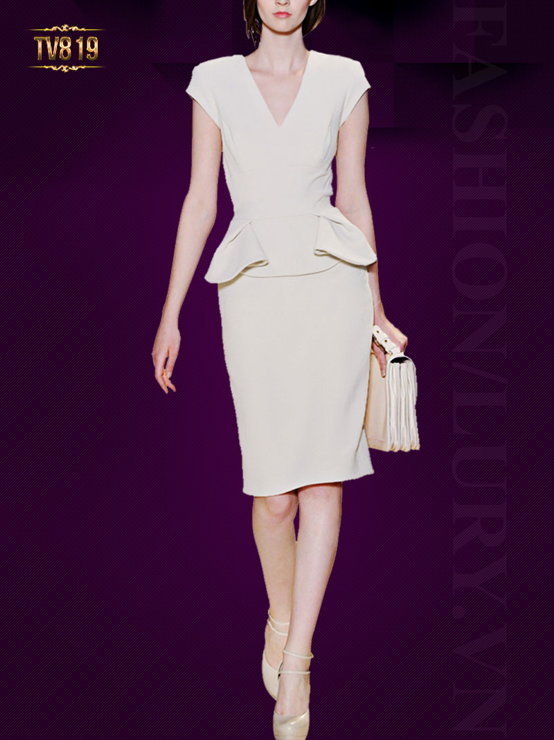 Đầm thiết kế cổ V quyến rũ dáng peplum thời trang TV819