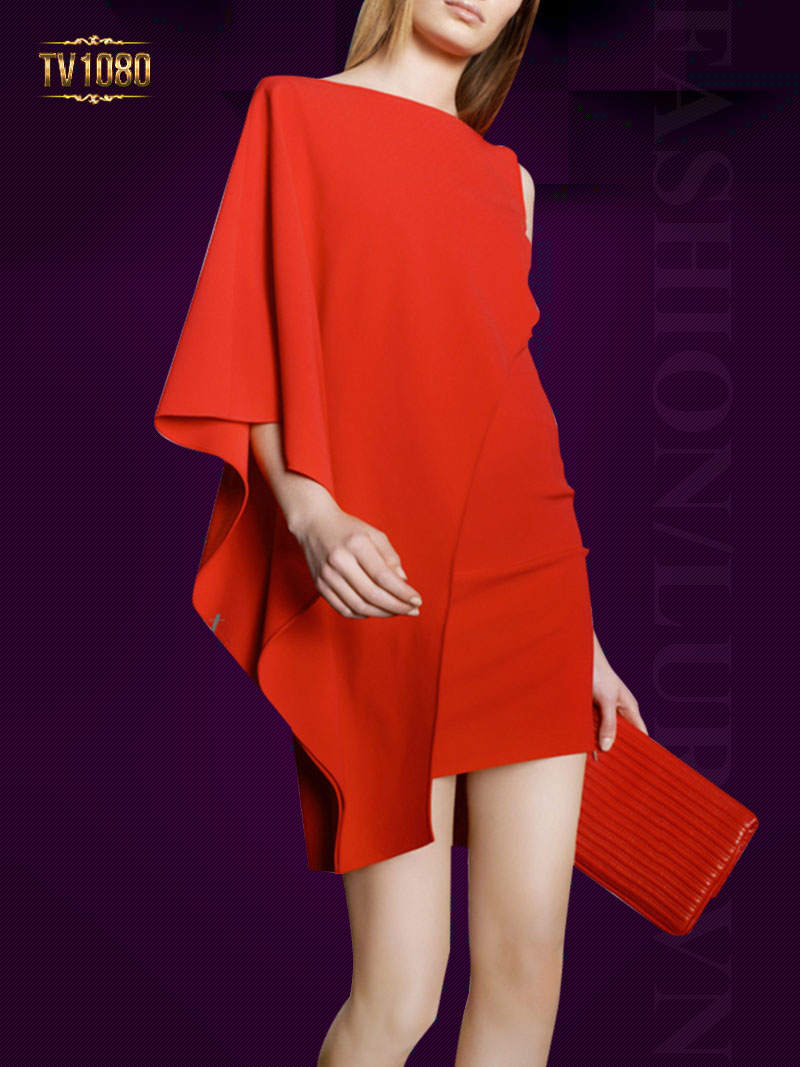 Đầm thiết kế phối vạt lêch cổ thuyền cao cấp TV1080 (Màu đỏ)