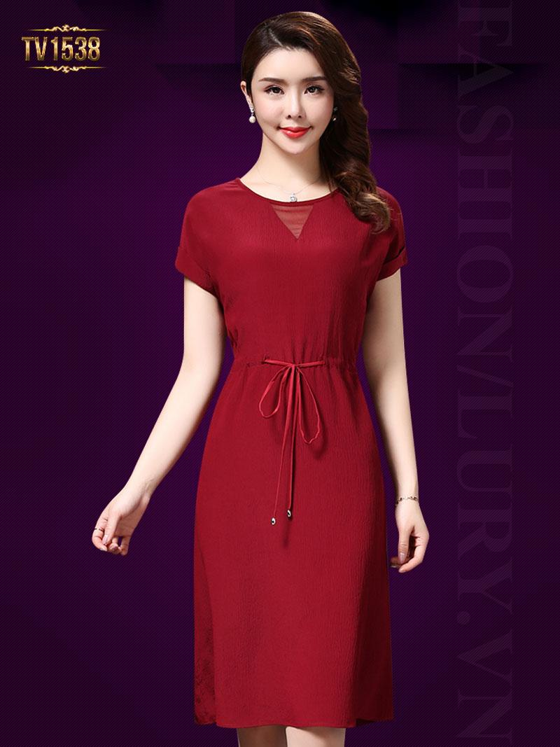 Đầm thô nhũ trơn màu đỏ thắt dây eo cao cấp rất nhẹ nhàng, nữ tính TV1538