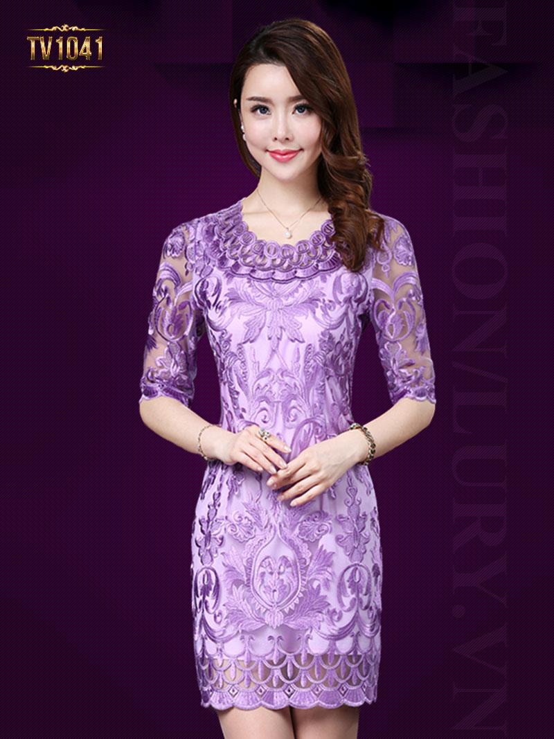 Váy tím thêu họa tiết cao cấp cổ cách điệu TV1041