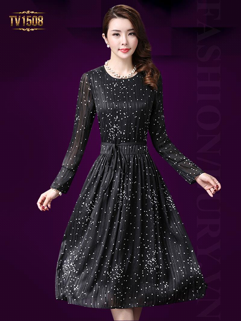 Đầm voan chấm bi 2 lớp dài tay thời trang TV1508