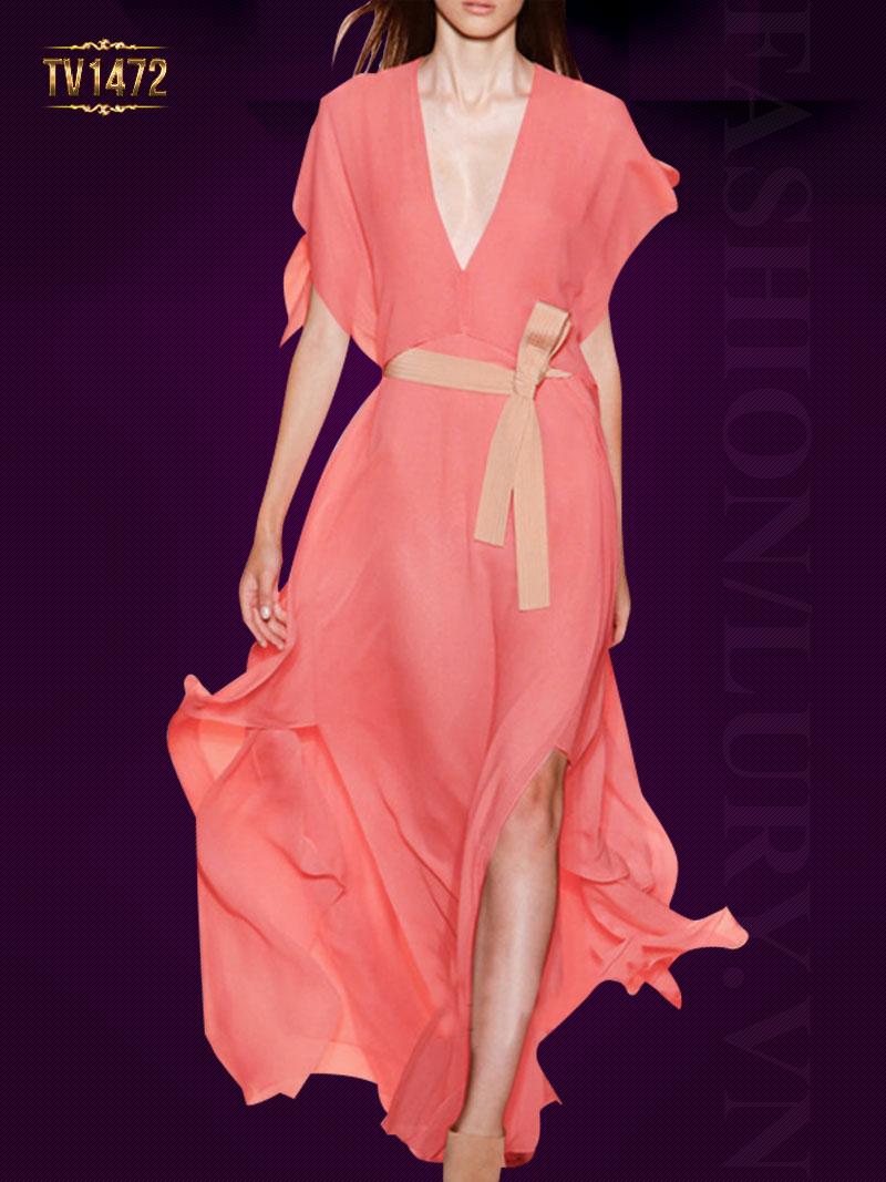 Đầm voan hồng thiết kế cổ V sâu quyến rũ TV1472