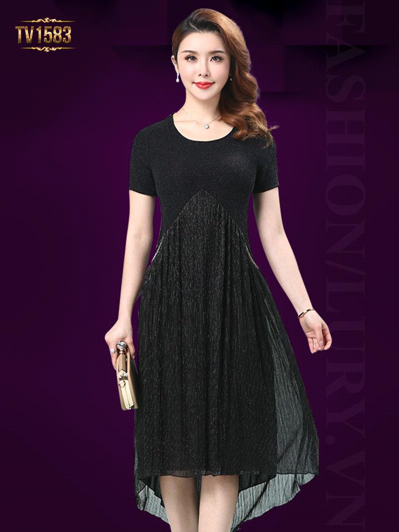 Đầm voan nhũ 2 túi dáng tay ngắn thời trang TV1583