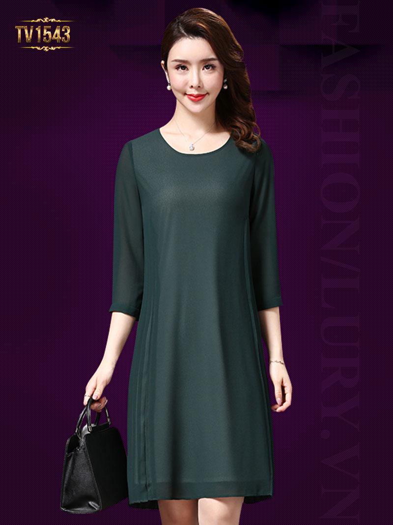 Mẫu đầm voan xanh tay lỡ xếp ly thân váy cao cấp theo phong cách Hàn Quốc TV1543; Giá: 2.180.000 VNĐ