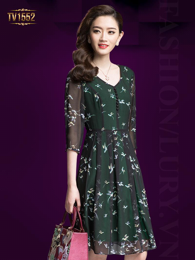 Đầm voan xòe họa tiết hai lớp khuy tròn thời trang TV1552