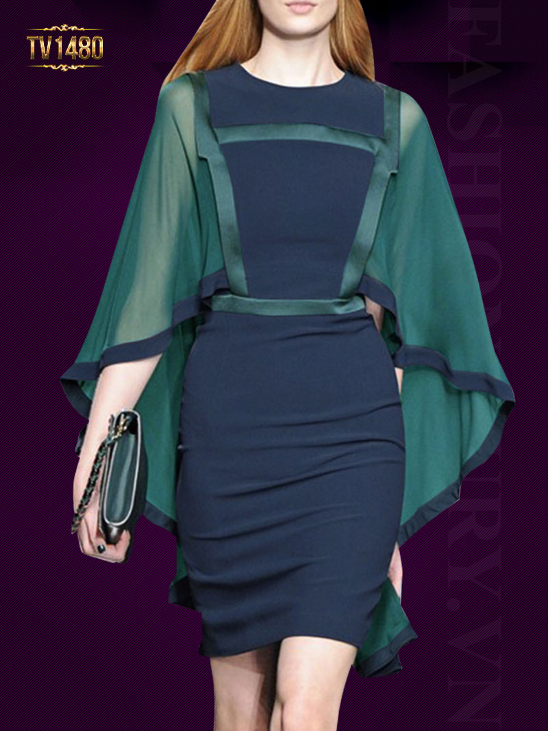 Đầm xanh thiết kế phối vạt sau kiểu cách TV1480