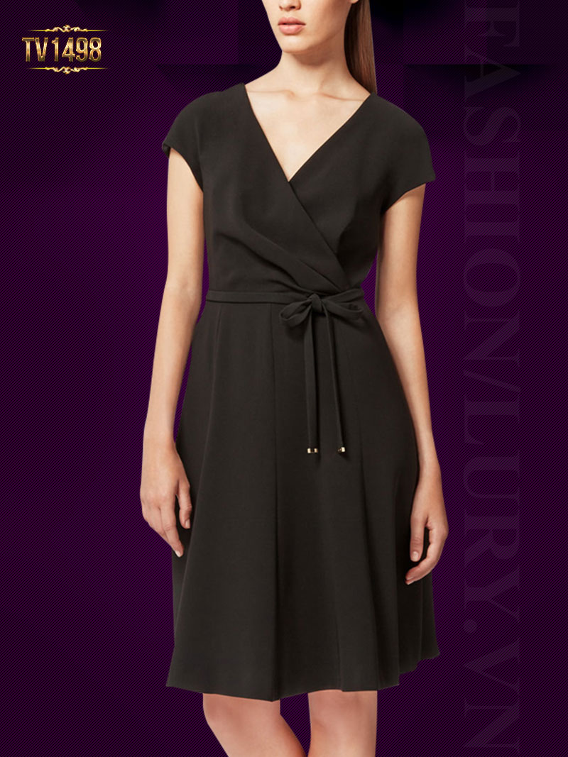 Đầm xòe chữ A tay con dây đai nơ thời trang TV1498