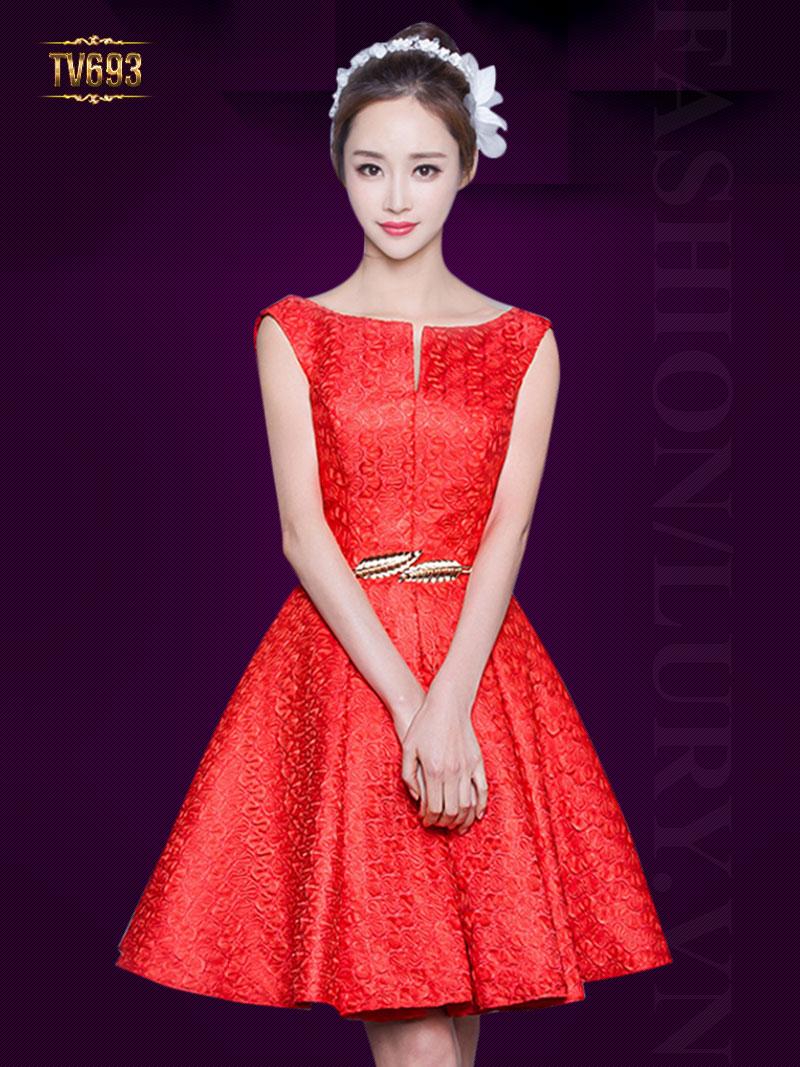 Đầm xòe dạ hội dáng ngắn kèm đai cao cấp TV693