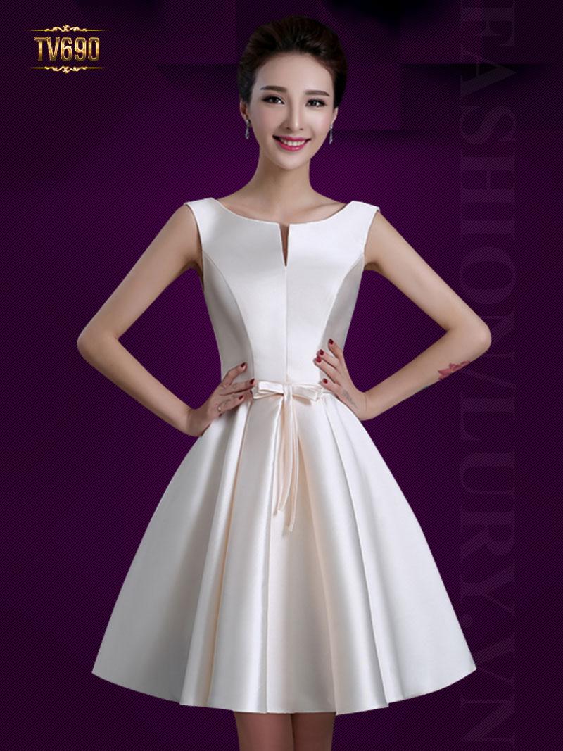 Mẫu đầm xòe dự tiệc đơn sắc thiết kế trẻ trung phong cách thời trang Hàn Quốc