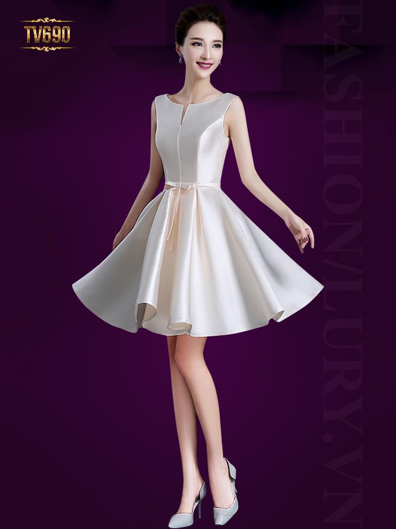 Đầm xòe dự tiệc đơn sắc nơ eo cao cấp TV690 (Màu trắng)
