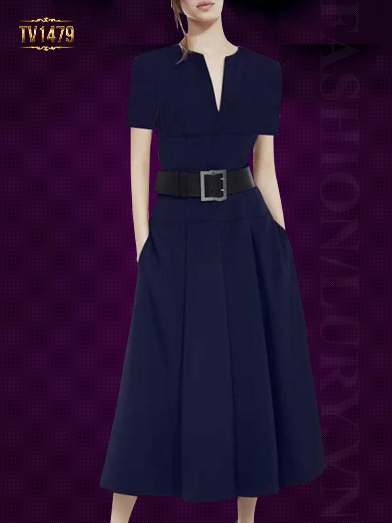 Đầm xòe tay ngắn dáng dài kèm dây đai to bản thời trang TV1479