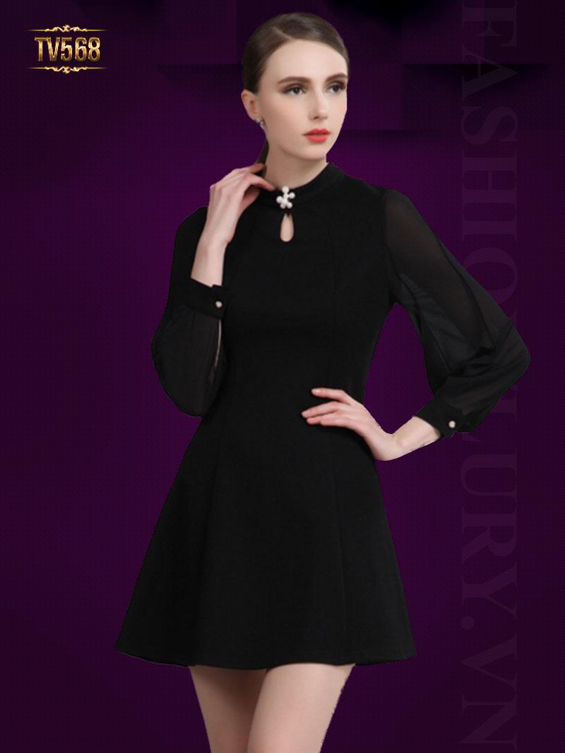 Đầm xòe trơn cổ khoét giọt lệ đính hạt cao cấp TV568 (Màu đen)