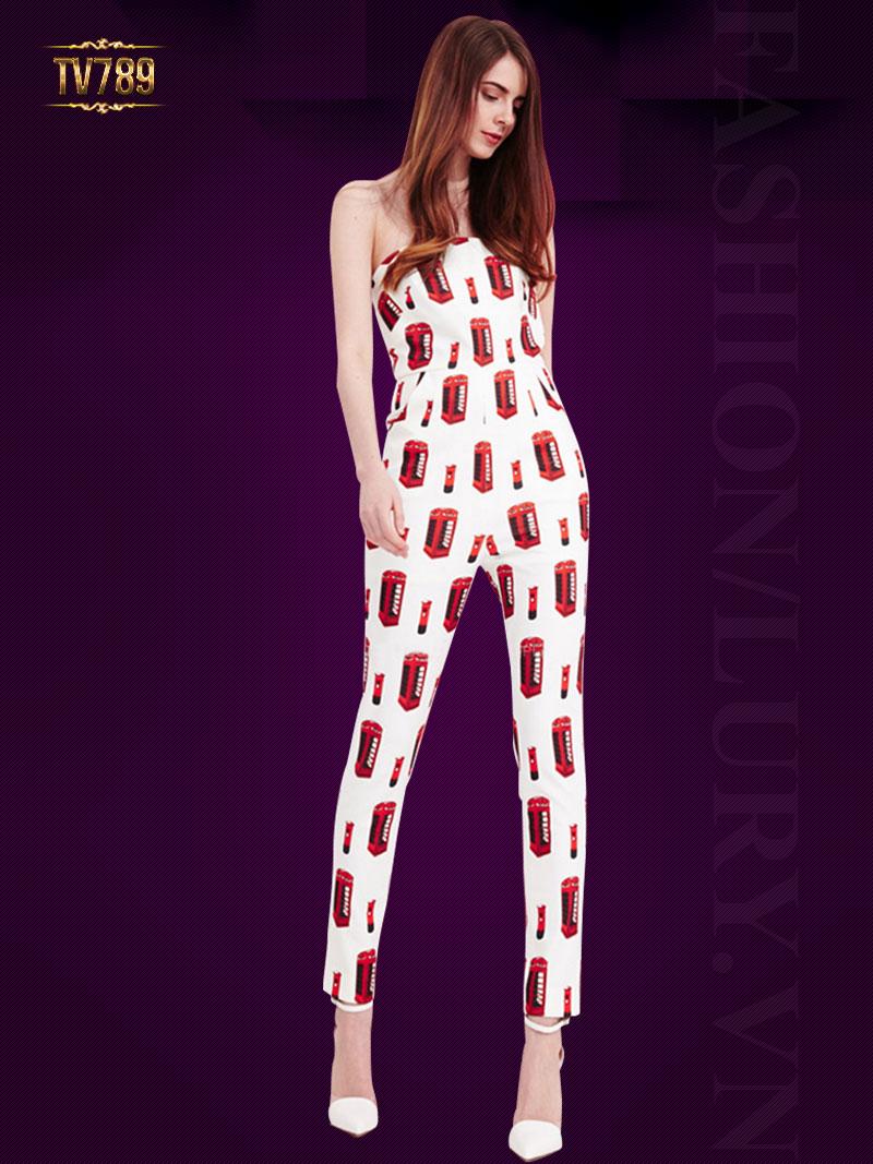 Jumpsuit dài ống đứng với thiết kế áo quây quyến rũ TV789 (Họa tiết)
