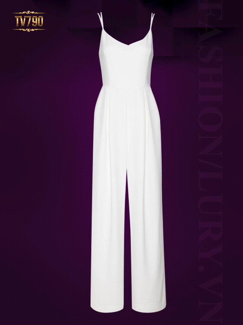 Jumpsuit hai dây dáng dài hở lưng quyến rũ TV790 (Màu trắng)
