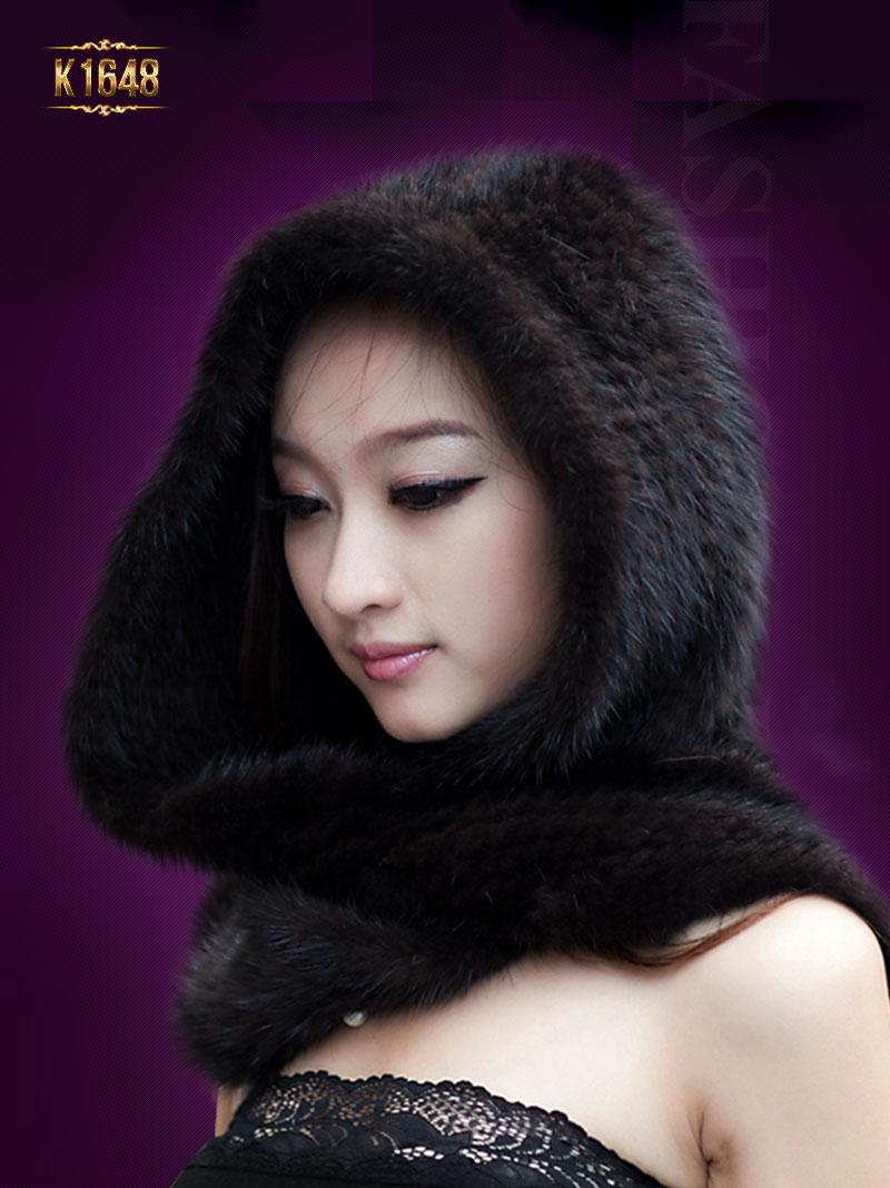 Khăn choàng K1648 mới 2017 có mũ chất lông tự nhiên