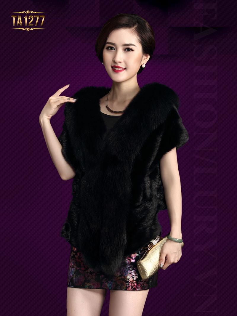 Khăn choàng lông Hàn Quốc sang trọng TA1277 (Màu đen)