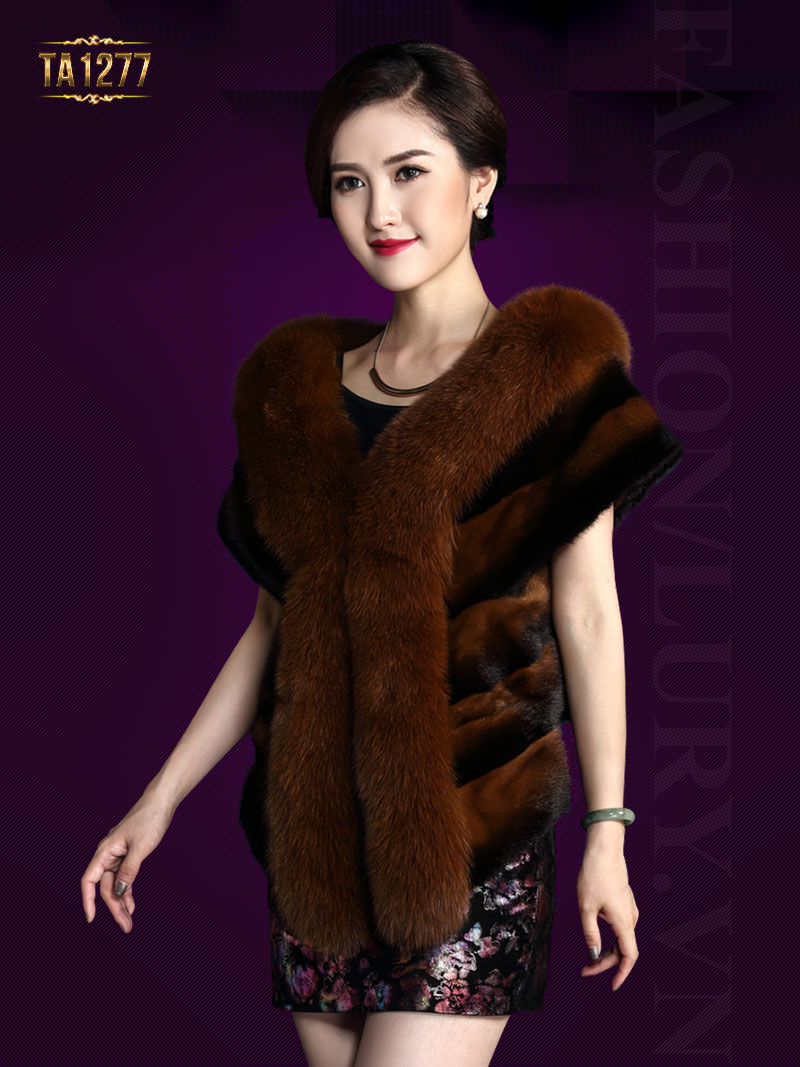 Khăn choàng lông Hàn Quốc sang trọng TA1277 (Nâu vàng)