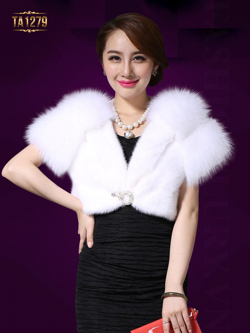 Khăn choàng lông Hàn Quốc lót lụa cao cấp TA1279 ( Màu trắng)