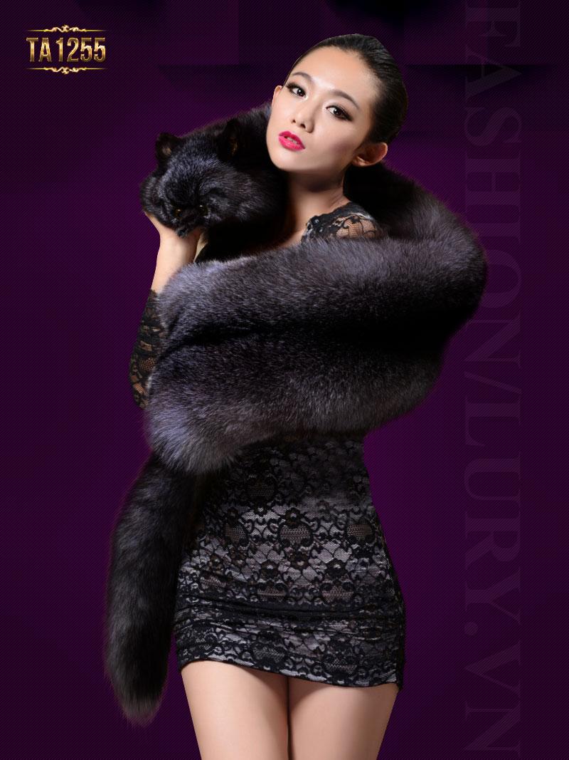 Khăn choàng lông thú nguyên con nhập khẩu cao cấp TA1255 (Màu đen)