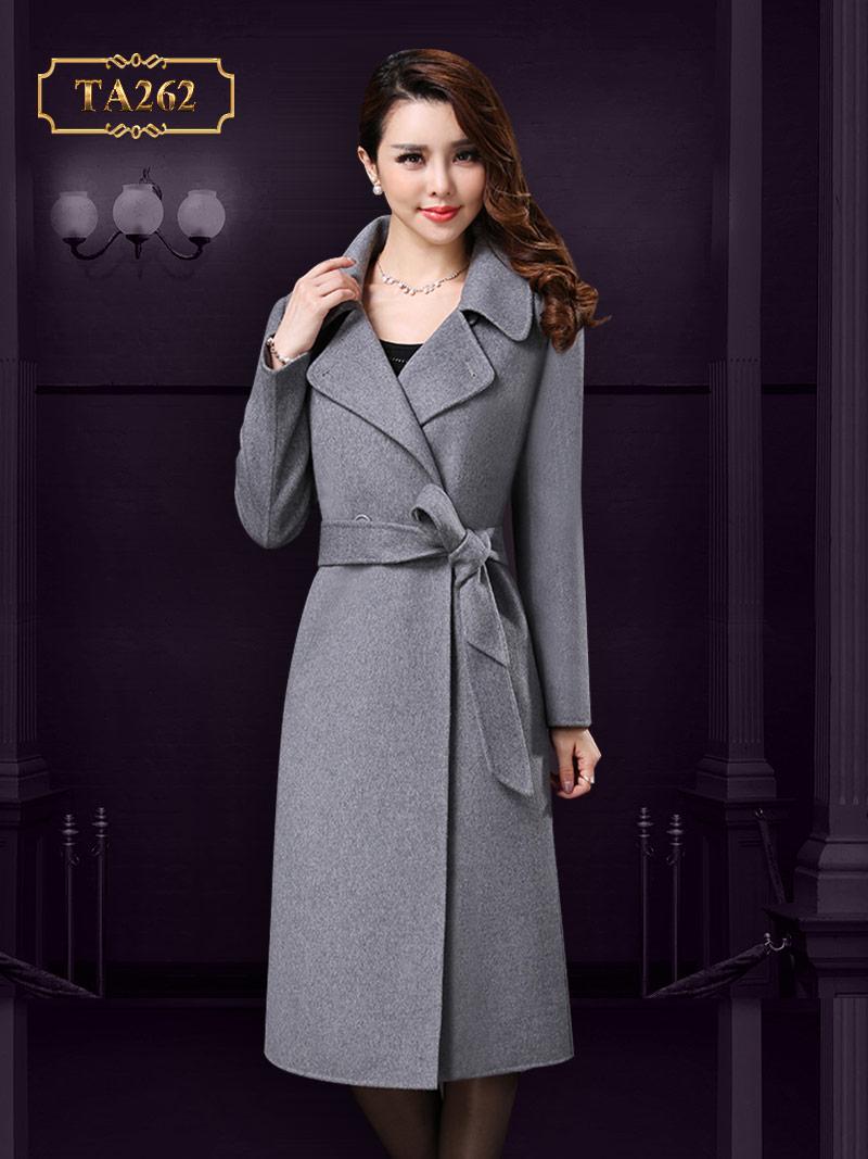Áo dạ cổ sen dáng dài thắt eo thời trang TA262