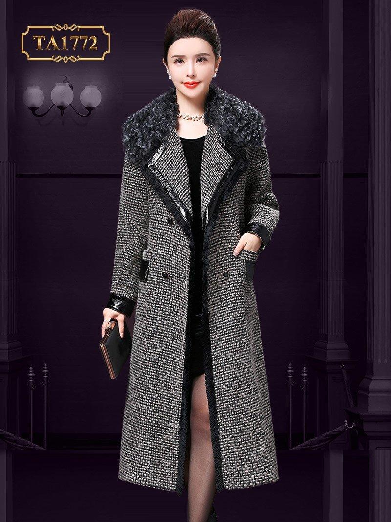 Áo khoác dạ cổ lông xù TA1772 thời trang túi nắp da sang trọng mới 2019
