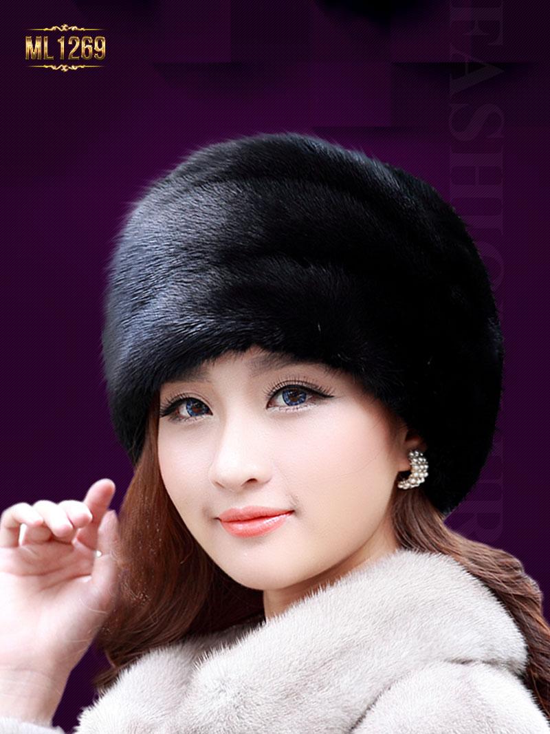 Mũ lông HQ viền ngang hình hoa thời trang ML1269 (Màu đen)