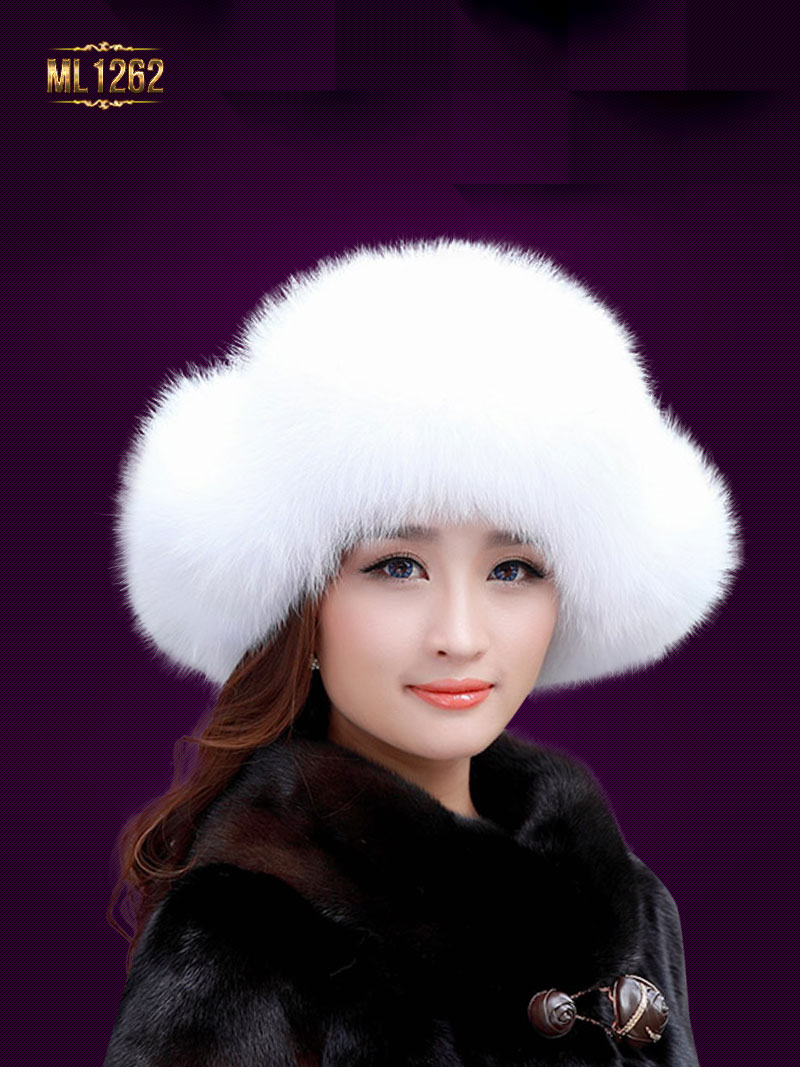Mũ lông chụp tai dây buộc quả lông cao cấp Hàn Quốc ML1262 (Màu trắng)