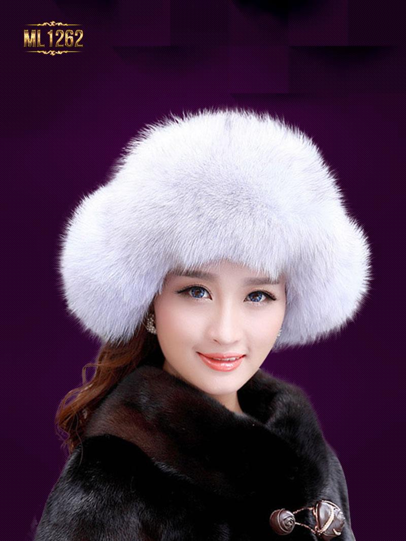 Mũ lông chụp tai dây buộc quả lông cao cấp Hàn Quốc ML1262 (Trắng ghi)